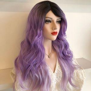 "20"" Pastel Purple Ombre w/ Blk Roots Wig | Leona"